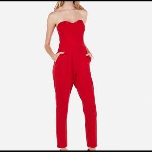 Express red jumpsuit with sweetheart neckline
